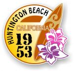 Huntington Beach 1953 Surfer Surfing Design Vinyl Car sticker decal  95x98mm